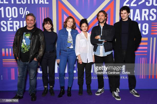 Actors Sergi Lopez Alba Gaia Bellugi Laetitia Casta Noee Abita director Julien Trousselier and actor Manuel Severi attend the Une Ile Photocall...