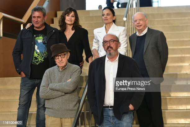 Actors Sergi López , Gina Gershon , Elena Anaya and Wally Shawn , Woody Allen and businessman Jaume Roures during the presentation of the filming of...