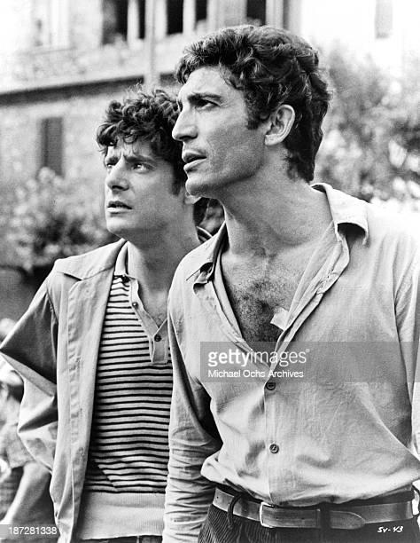 Actors Sergio Franchi and Giancarlo Giannini on set of the United Artist movie The Secret of Santa Vittoria in 1969