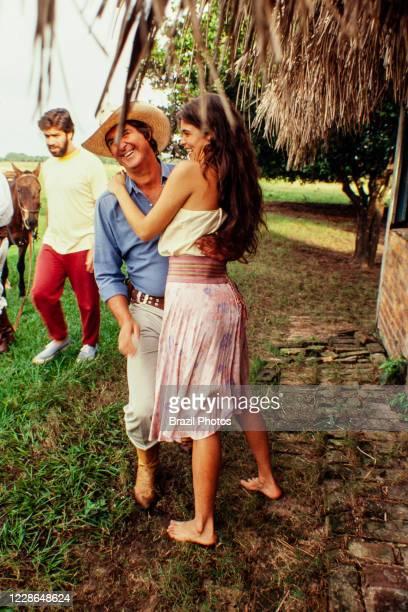 Actors Sergio Reis and Cristiana Oliveira relax during a break on the recordings of Pantanal, Brazilian telenovela TV serial drama , soap opera -...