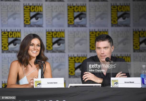 Actors Serinda Swan and Anson Mount speak onstage at Marvel Television Marvel's 'Inhumans' panel at San Diego Convention Center on July 20 2017 in...