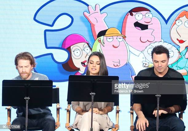 Actors Seth Green and Mila Kunis and creator/executive producer Seth MacFarlane of the television show Family Guy perform a live read onstage during...
