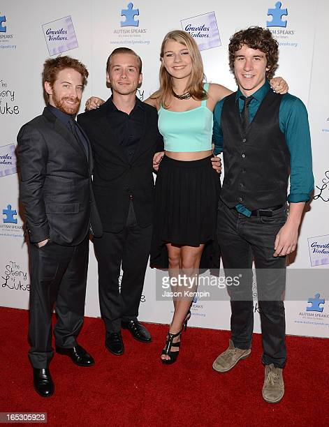 Actors Seth Green Lou Taylor Pucci Mackenzie Munro and Tyler Stentiford attend 'The Story Of Luke' premiere at Laemmle Music Hall on April 2 2013 in...