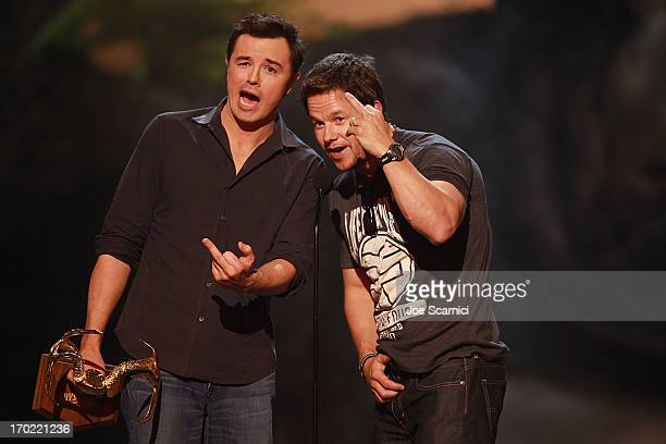 Actors Seth MacFarlane and Mark Wahlberg speak onstage during 2013 Spike TV 'Guys Choice' Show at Sony Pictures Studios on June 8 2013 in Culver City...