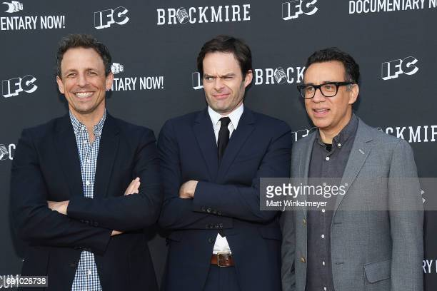 Actors Seth Meyers Bill Hader and Fred Armisen arrive at the FYC event for IFC's 'Brockmire' and Documentary Now' at Saban Media Center on May 31...