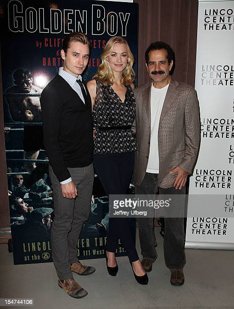 Actors Seth Numrich Yvonne Strahovski and Tony Shalhoub attend the 'Golden Boy' Cast Meet Greet at the Lincoln Center Theater on October 25 2012 in...