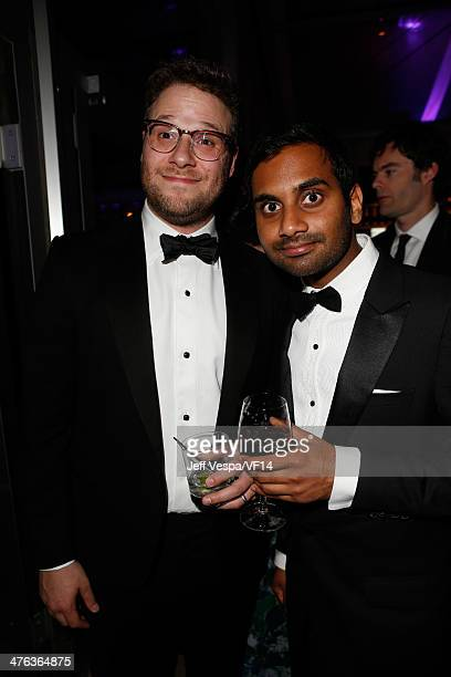 Actors Seth Rogen and Aziz Ansari attend the 2014 Vanity Fair Oscar Party Hosted By Graydon Carter on March 2 2014 in West Hollywood California