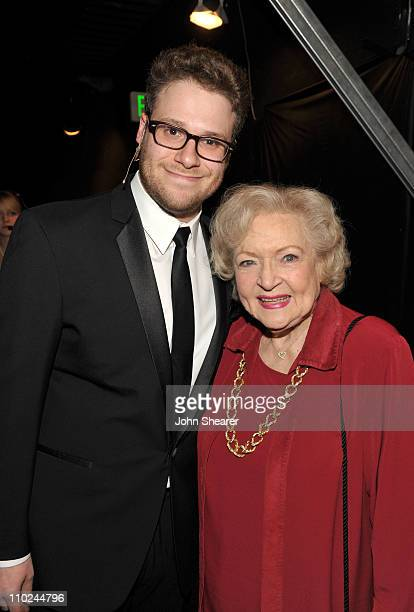 Actors Seth Rogen and Betty White attend the 19th annual A Night At Sardi's fundraiser and awards dinner benefitting the Alzheimer's Association at...