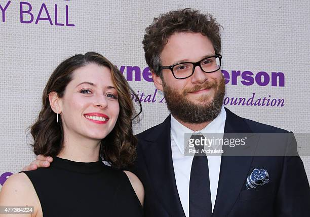 Actors Seth Rogen and his Wife Lauren Miller attend the 14th annual Chrysalis Butterfly Ball at a private Mandeville Canyon Estate on June 6 2015 in...