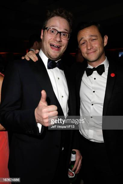 Actors Seth Rogen and Joseph GordonLevitt attend the 2013 Vanity Fair Oscar Party hosted by Graydon Carter at Sunset Tower on February 24 2013 in...