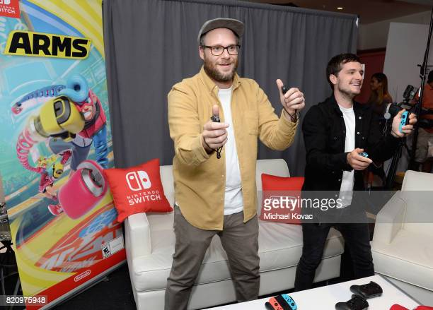 Actors Seth Rogen and Josh Hutcherson from the Hulu series 'Future Man' stopped by Nintendo at the TV Insider Lounge to check out Nintendo Switch...