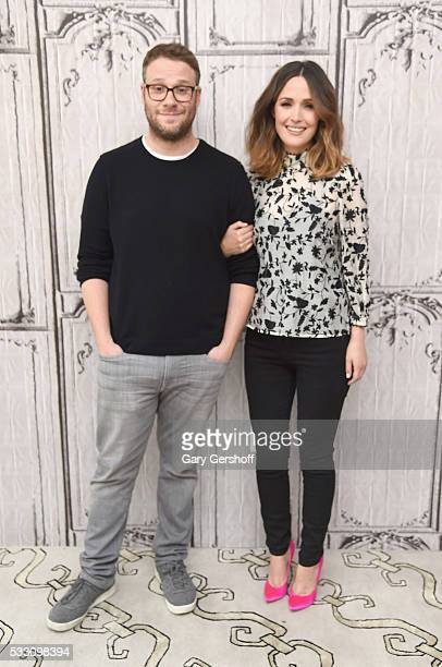 Actors Seth Rogen and Rose Byrne discuss their new film 'Neighbors 2' during AOL BUILD Presents Series at AOL Studios In New York on May 20 2016 in...