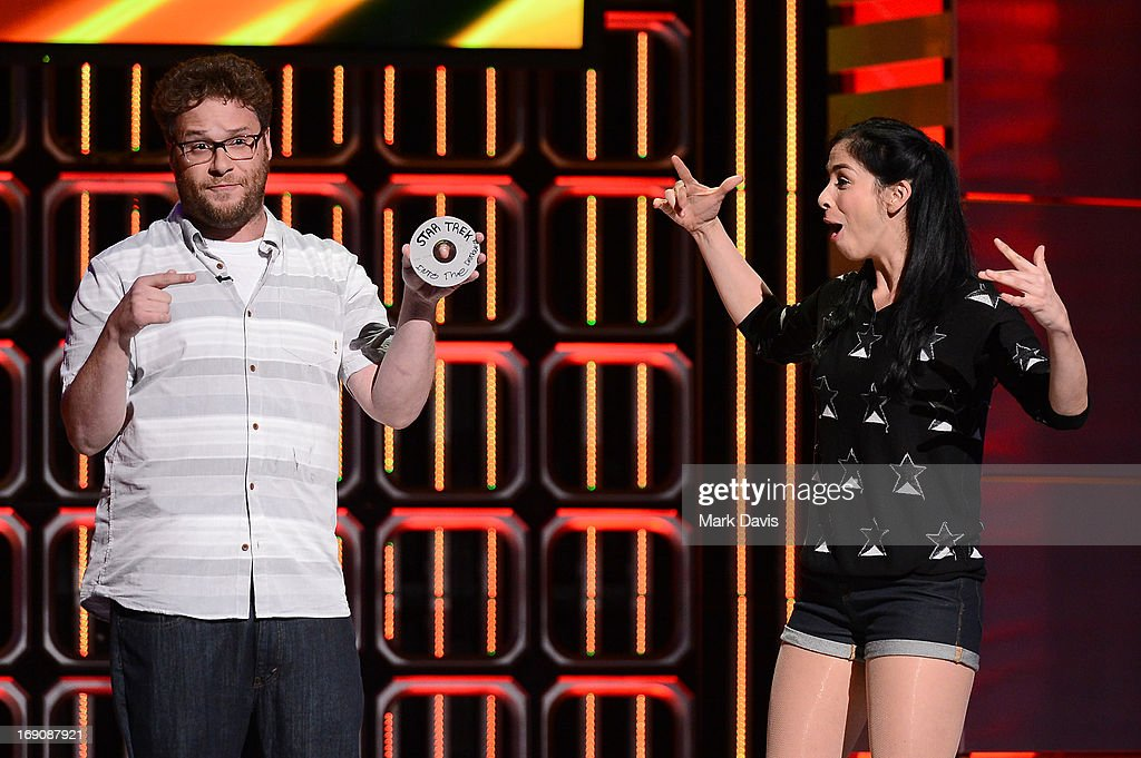 Actors Seth Rogen and Sarah Silverman attends 'The Big Live Comedy Show' presented by YouTube Comedy Week held at Culver Studios on May 19, 2013 in Culver City, California.