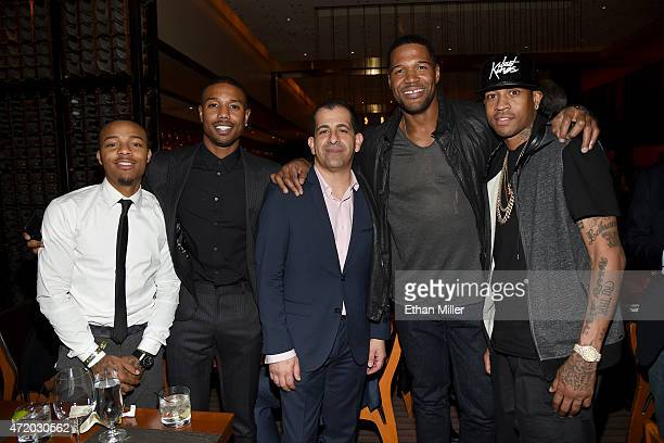 Actors Shad Moss Michael B Jordan GM Showtime Sports and Event Programming Stephen Espinoza TV personality Michael Strahan and former NBA player...