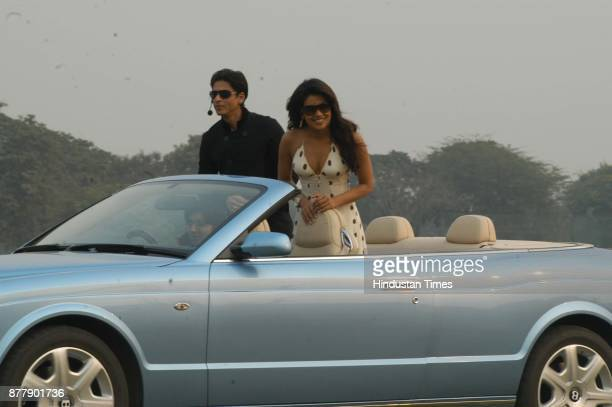 Actors Shah Rukh khan and Priyanka Chopra at the Jaipur Polo Ground in New Delhi on Sunday