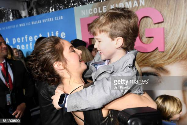Actors Shailene Woodley and Iain Armitage attend the premiere of HBO's 'Big Little Lies' at the TCL Chinese Theater on February 7 2017 in Hollywood...