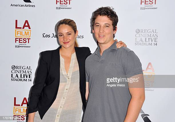 """Actors Shailene Woodley and Miles Teller arrive at the premiere of A24's """"The Spectacular Now"""" during the 2013 Los Angeles Film Festival at Regal..."""