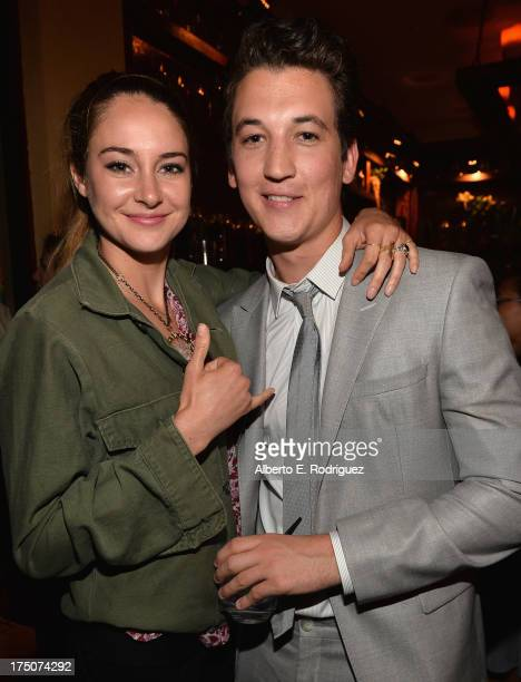 """Actors Shailene Woodley and Miles Teller attend the after party for a screening of A24's """"The Spectacular Now"""" on July 30, 2013 in Los Angeles,..."""