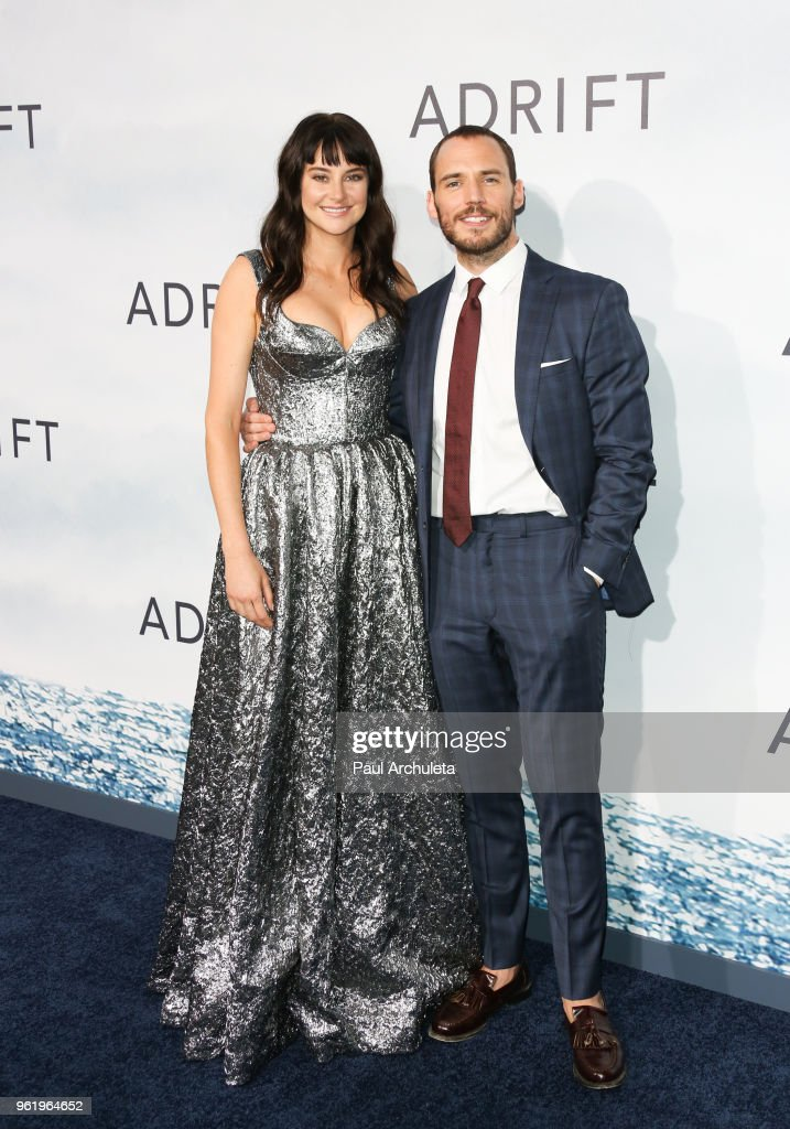 Actors Shailene Woodley (L) and Sam Claflin (R) attend the premiere of STX Films' 'Adrift' at Regal LA Live Stadium 14 on May 23, 2018 in Los Angeles, California.