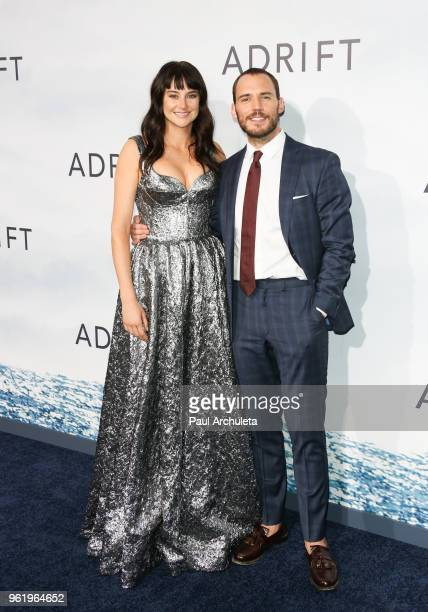 Actors Shailene Woodley and Sam Claflin attend the premiere of STX Films' 'Adrift' at Regal LA Live Stadium 14 on May 23 2018 in Los Angeles...
