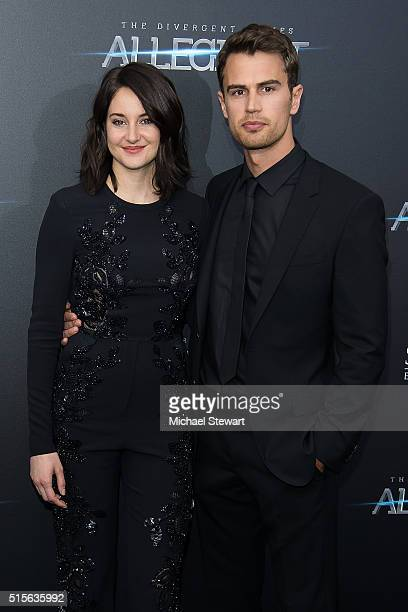 Actors Shailene Woodley and Theo James attend the 'Allegiant' New York premiere at AMC Lincoln Square Theater on March 14 2016 in New York City