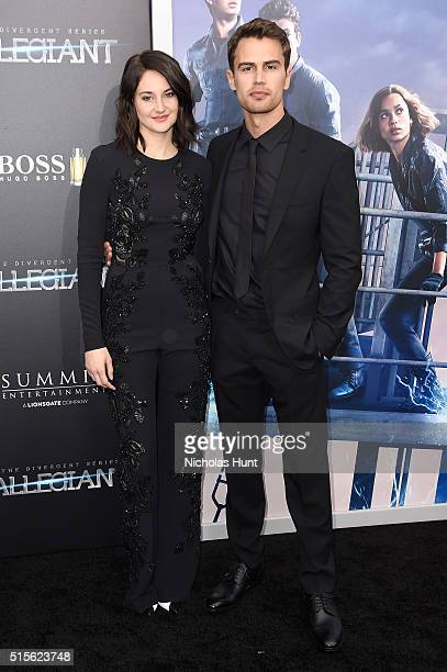 Actors Shailene Woodley and Theo James attend the New York premiere of 'Allegiant' at the AMC Lincoln Square Theater on March 14 2016 in New York City