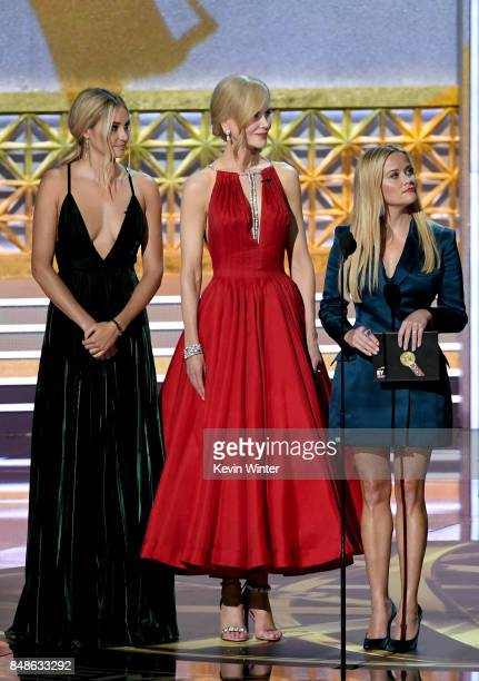 Actors Shailene Woodley Nicole Kidman and Reese Witherspoon speak onstage during the 69th Annual Primetime Emmy Awards at Microsoft Theater on...