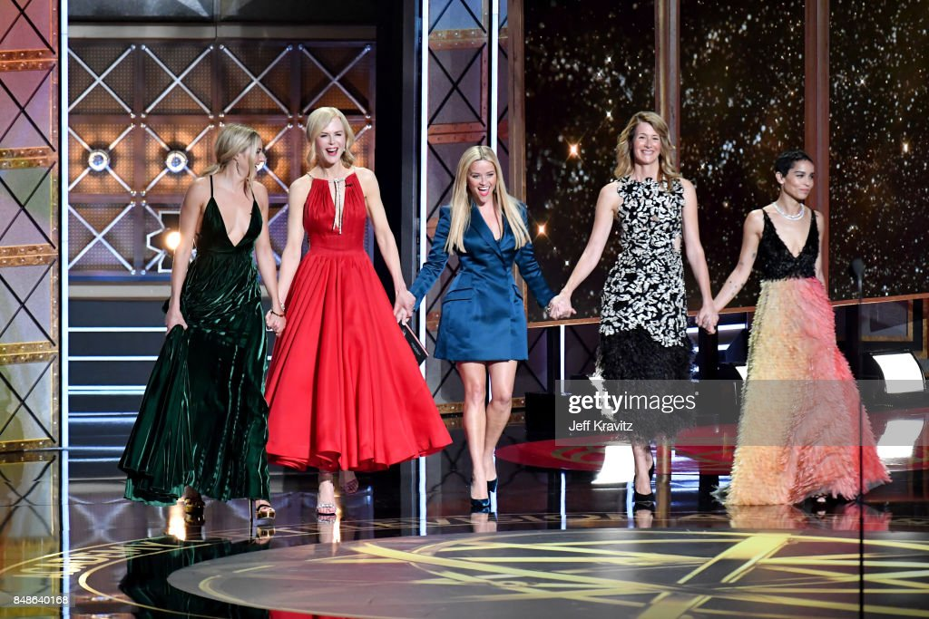 Actors Shailene Woodley, Nicole Kidman, Reese Witherspoon, Laura Dern and Zoë Kravitz of speak onstage during the 69th Annual Primetime Emmy Awards at Microsoft Theater on September 17, 2017 in Los Angeles, California.