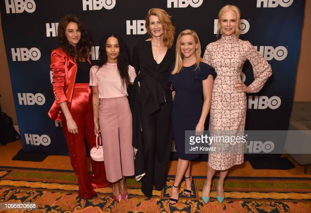 "Actors Shailene Woodley, Zoe Kravitz, Laura Dern, Reese Witherspoon and Nicole Kidman are seen prior to the ""Big Little Lies"" panel of the HBO..."