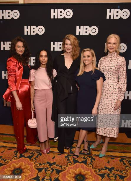 Actors Shailene Woodley Zoe Kravitz Laura Dern Reese Witherspoon and Nicole Kidman are seen prior to the Big Little Lies panel of the HBO portion of...