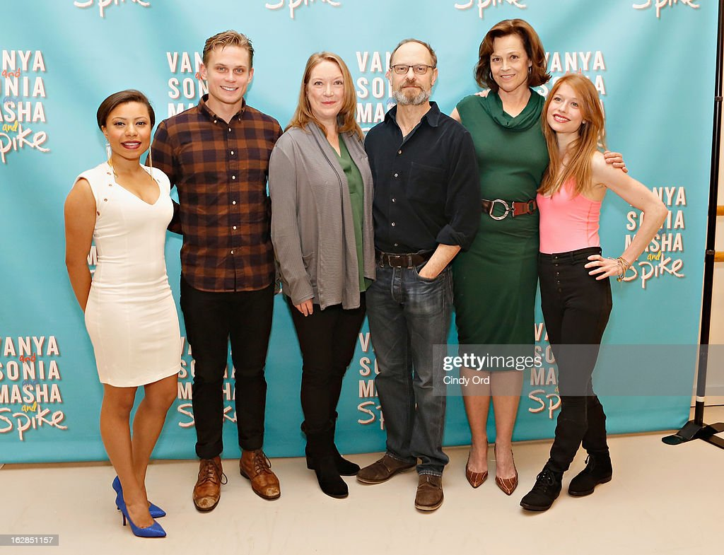 Actors Shalita Grant, Billy Magnussen, Kristine Nielsen, David Hyde Pierce, Sigourney Weaver and Genevive Angelson attend the 'Vanya And Sonia And Masha And Spike' Broadway Press Preview at The New 42nd Street Studios on February 28, 2013 in New York City.