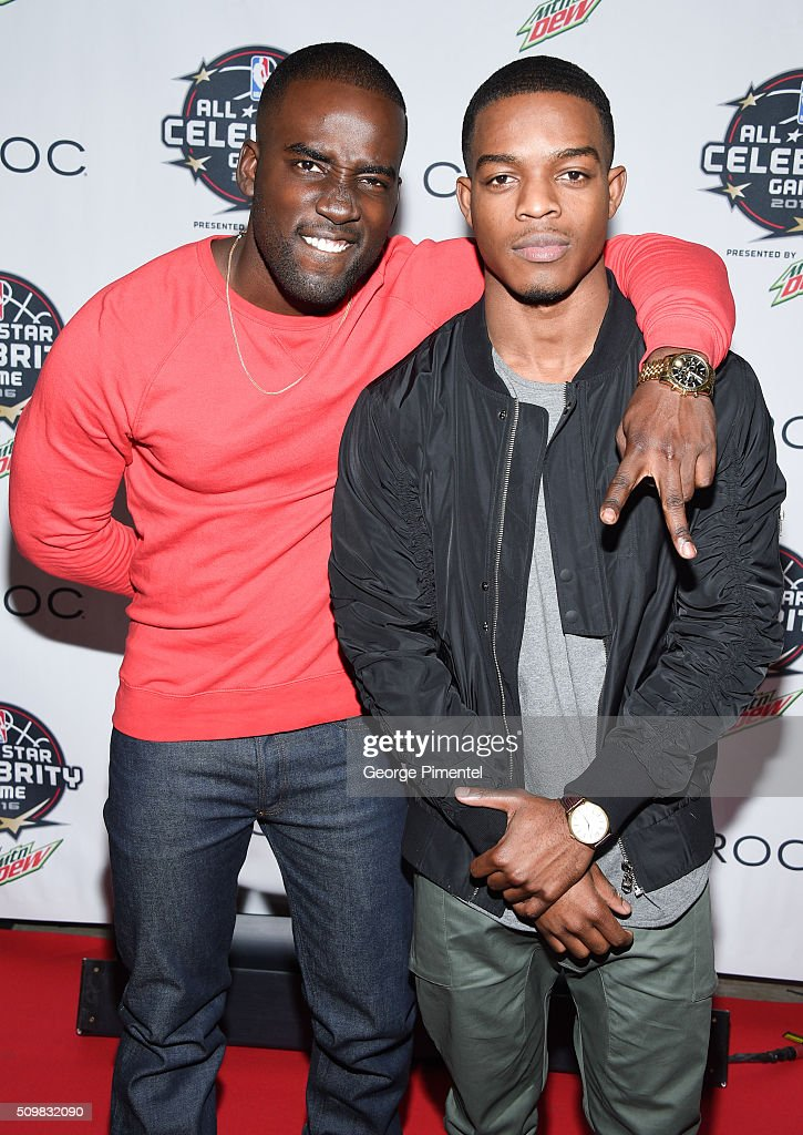 Actors Shamier Anderson and Stephan James attend the 2016 NBA All-Star Celebrity Game at Ricoh Coliseum on February 12, 2016 in Toronto, Canada.