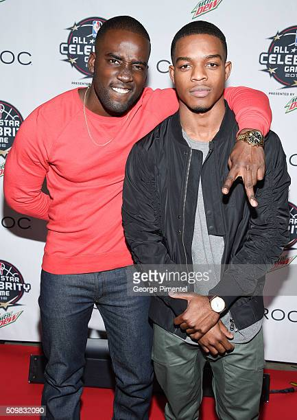 Actors Shamier Anderson and Stephan James attend the 2016 NBA AllStar Celebrity Game at Ricoh Coliseum on February 12 2016 in Toronto Canada