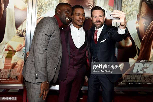 Actors Shamier Anderson Stephan James and Jason Sudeikis attend Race New York Screening at Landmark's Sunshine Cinema on February 17 2016 in New York...
