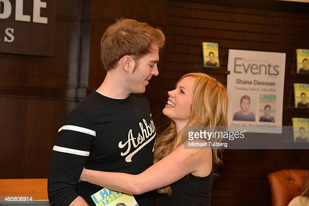 Actors Shane Dawson and Lisa Schwartz attend an event for Dawson's book I Hate Myselfie at Barnes Noble bookstore at The Grove on March 10 2015 in...