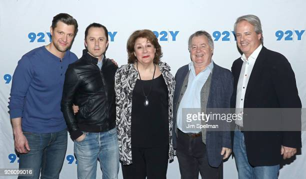 Actors Shane McRae Giovanni Ribisi Margo Martindale Peter Gerety and producer Graham Yost from 'Sneaky Pete' attend the 92nd Street Y 'Marvelous Mrs...