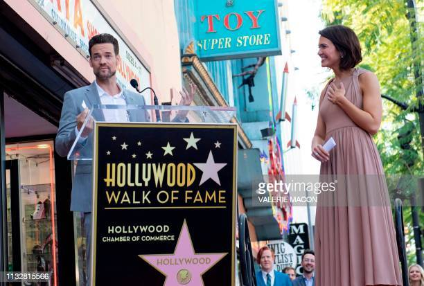 Actors Shane West and Mandy Moore attend a ceremony honoring Mandy Moore a star on The Hollywood Walk of Fame on March 25 2019 in Hollywood California