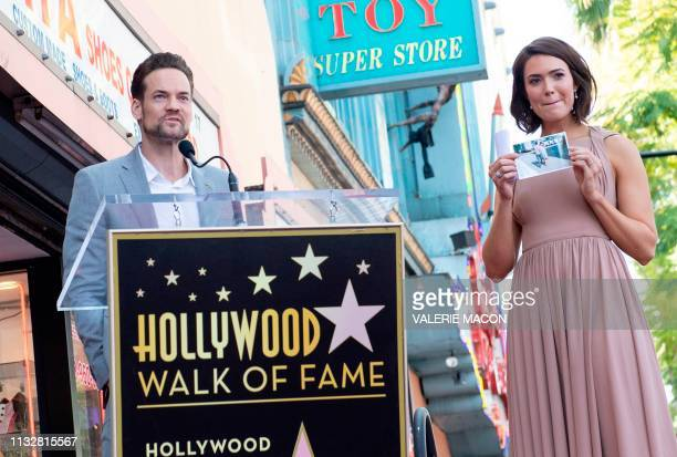 Actors Shane West and Mandy Moore attend a ceremony honoring Moore with a star on The Hollywood Walk of Fame on March 25 2019 in Hollywood California