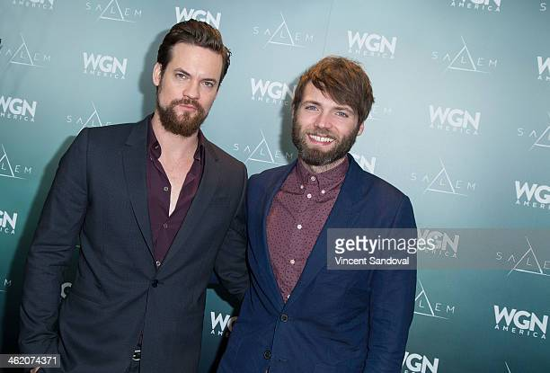 Actors Shane West and Seth Gabel attend WGN America presents 'SALEM' at the 2014 Winter TCA's at The Langham Huntington Hotel and Spa on January 12...