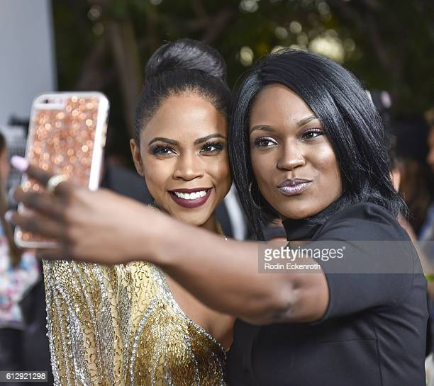 Actors Shanica Knowles takes selfie with fan at the screening of Lifetime's 'Surviving Compton Dre Suge And Michel'le' at The London West Hollywood...