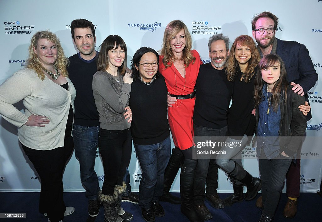 Actors Shannon Kipp, Ron Livingston and Rosemarie DeWitt, actor/musician Tomo Nakayama, actors Allison Janney and Josh Pais, director Lynn Shelton, actress Ellen Page and producer Steven Schardt attend the Premiere Party presented by Chase Sapphire at The Shop during the 2013 Sundance Film Festival on January 19, 2013 in Park City, Utah.
