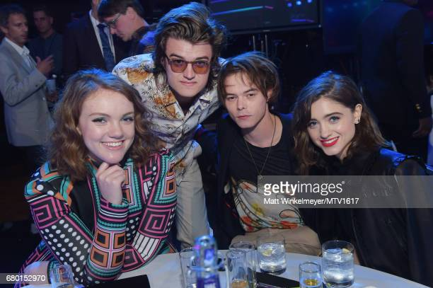 Actors Shannon Purser Joe Keery Charlie Heaton and Natalia Dyer attend the 2017 MTV Movie And TV Awards at The Shrine Auditorium on May 7 2017 in Los...