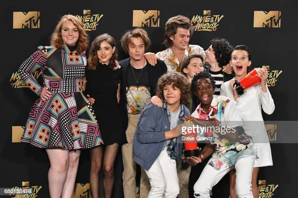 Actors Shannon Purser Natalia Dyer Charlie Heaton Joe Keery Noah Schnapp Finn Wolfhard Millie Bobby Brown and Gaten Matarazzo and Caleb McLaughlin of...