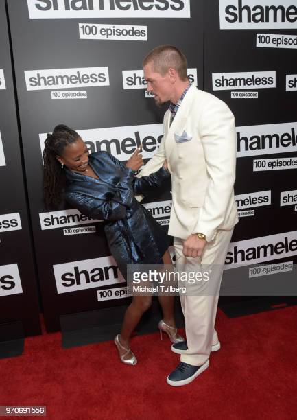 Actors Shanola Hampton and Steve Howey attend the celebration of the 100th episode of Showtime's Shameless at DREAM Hollywood on June 9 2018 in...