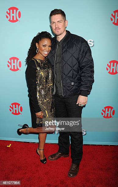 Actors Shanola Hampton and Steve Howey attend the Showtime celebration of the allnew seasons of 'Shameless' 'House Of Lies' And 'Episodes' at...