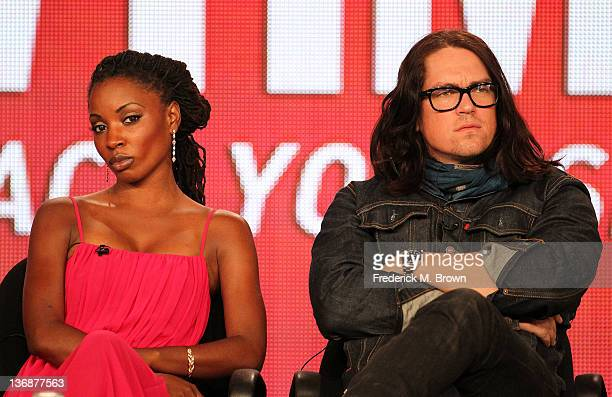 Actors Shanola Hampton and Steve Howey of the television show 'Shameless' speak during the Showtime portion of the 2012 Television Critics...