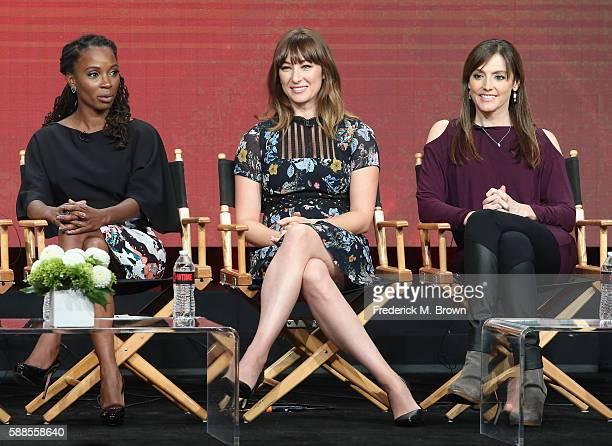 "Actors Shanola Hampton, Isidora Goreshter and executive producer ""Shameless"" Nancy M. Pimental speak onstage at 'Love & Marriage on TV' panel..."