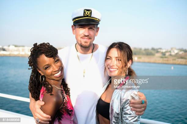 Actors Shanola Hampton Steve Howey and Sarah Shahi attend Steve Howey's Surprise 40th Birthday Party on July 16 2017 in Los Angeles California