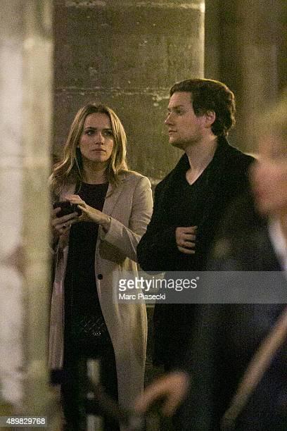Actors Shantel Vansanten and Jon Fletcher are seen at the 'NotreDamedeParis' cathedral on September 24 2015 in Paris France