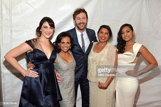 Actors Shari Sebbens Miranda Tapsell Chris O' Dowd Deborah Mailman and Jessica Mauboy attend 'The Sapphires' screening at The Paris Theatre on March...